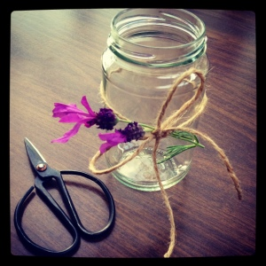 Switch the Lavender for Rosemary or other herbs. Pohutukawa if you are in New Zealand. Add a tea light for charm.